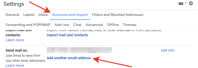 Gmail - 'Add another email address' button