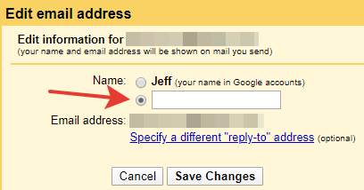 Gmail - Edit email address menu