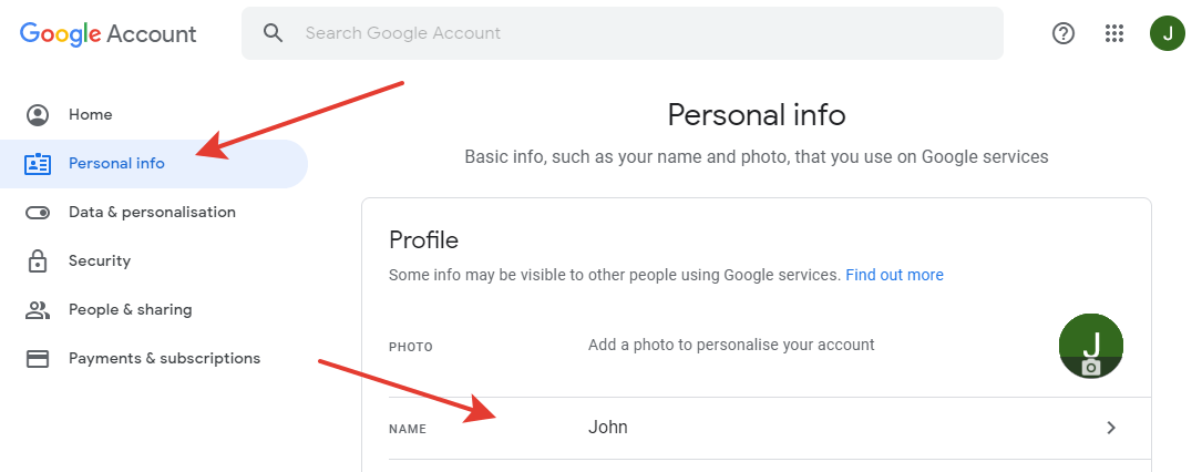 Google - Personal info