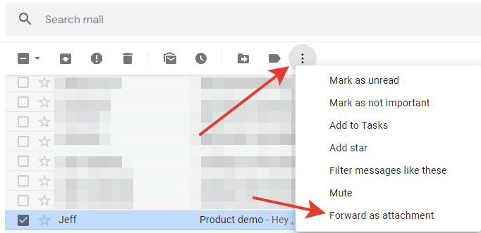 Gmail - 'Forward as attachment' email button