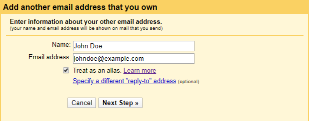 Gmail - add another email address button