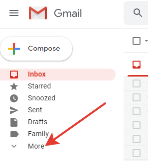 Labels in Gmail - More button