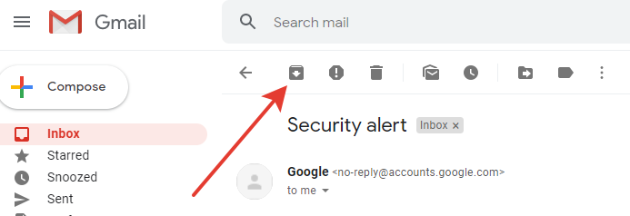 Gmail - Archive button