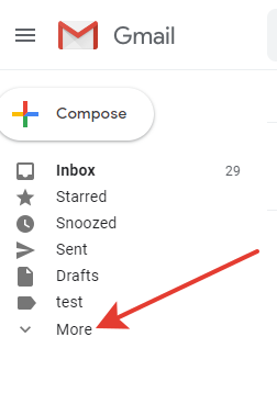 Gmail - pressing the 'More' button