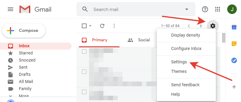 Gmail - settings button