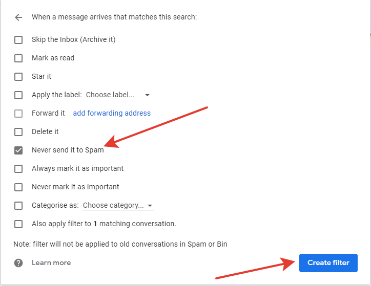 Gmail - filter action settings