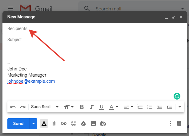 gmail recipients input