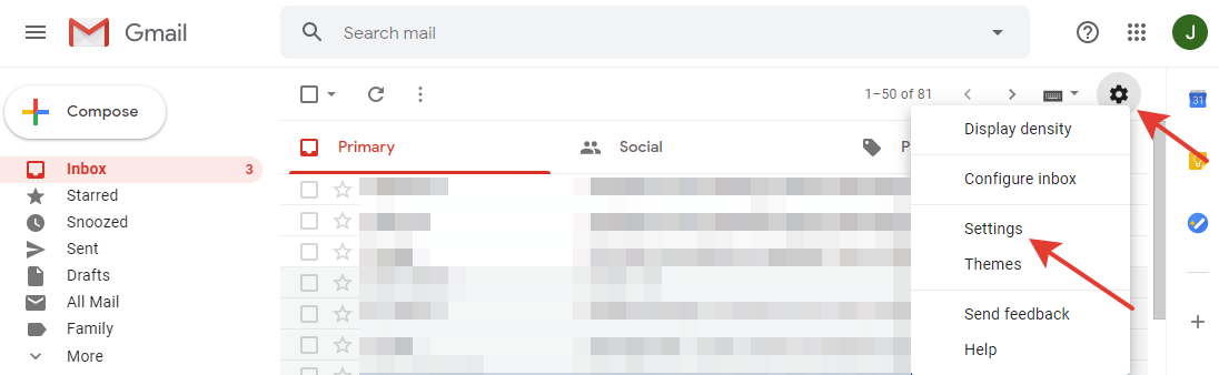 Gmail - 'Settings' button