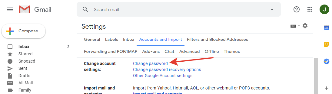 Gmail - 'Change password' button