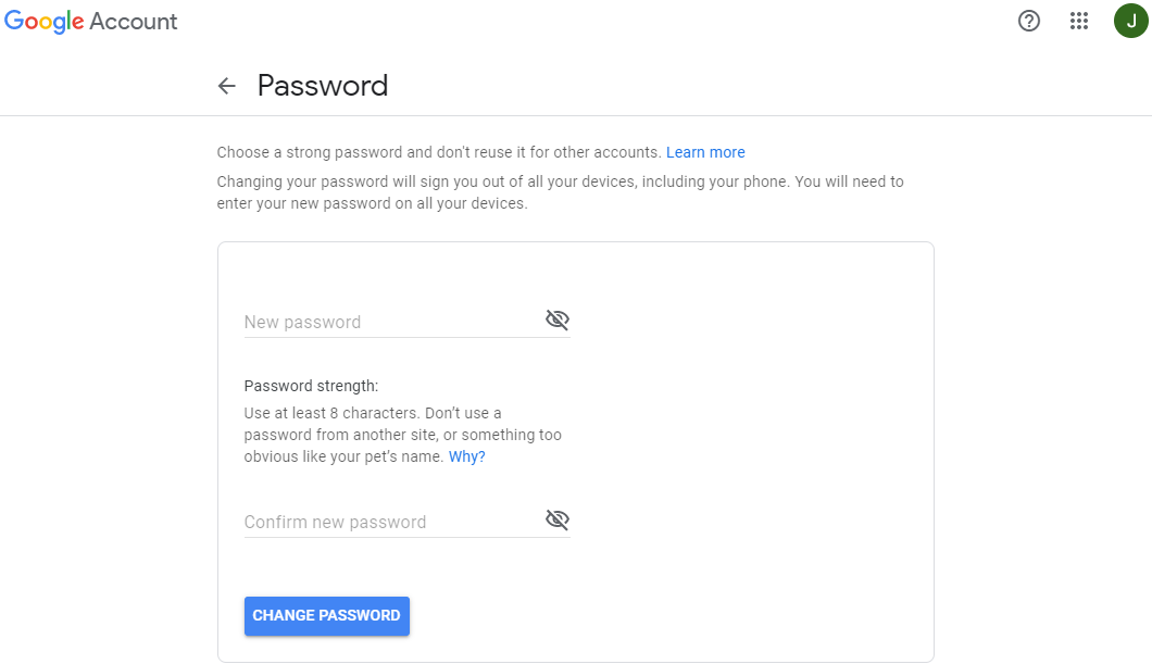 Gmail - changing the password