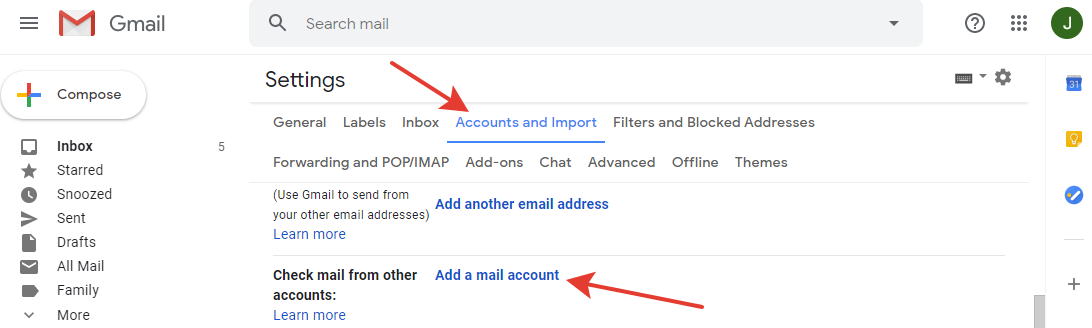 Gmail - 'Add a mail account' button