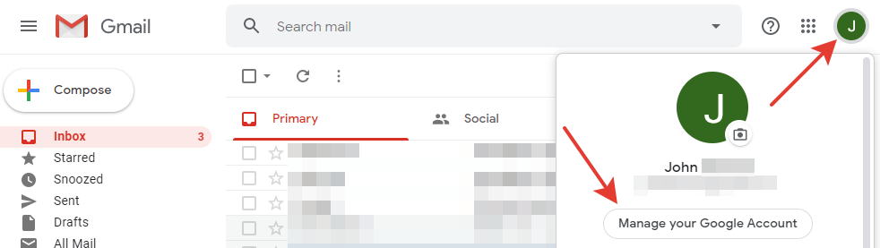 Gmail - 'Manage your Google Account' button