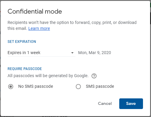 Gmail - confidential mode settings
