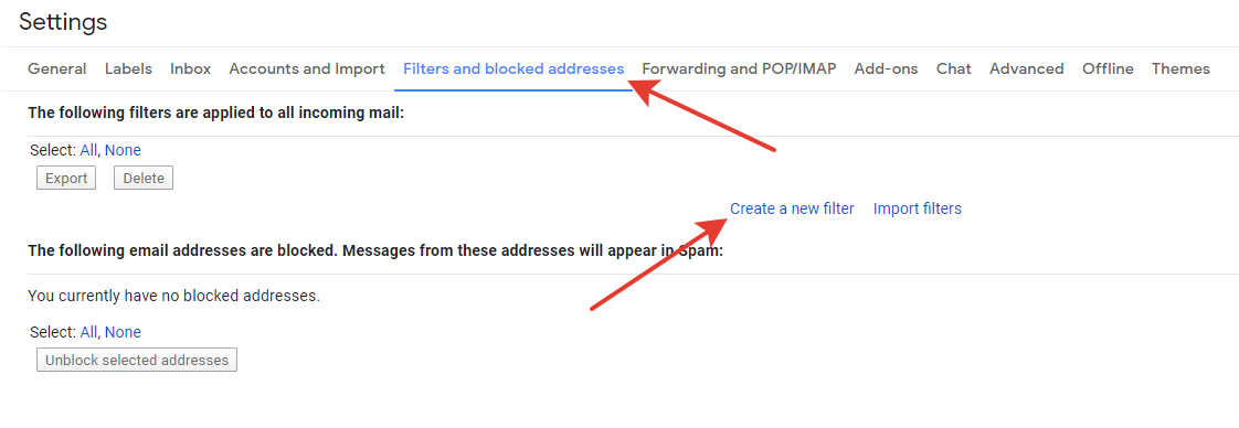 Gmail - filters and blocked addresses tab