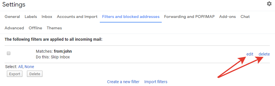 Gmail - edit and delete filter buttons