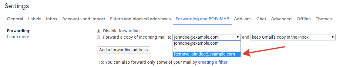Gmail - removing a forwarding address