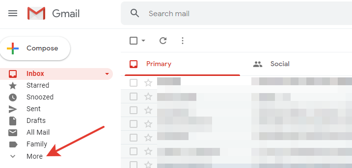 Gmail - 'More' button