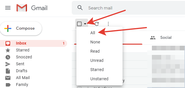 Gmail - select all button
