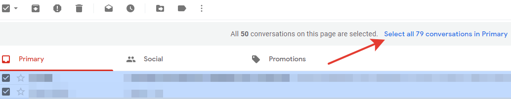 Gmail - select all conversations button