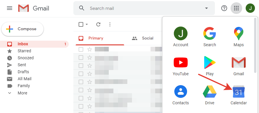 Gmail - Calendar button