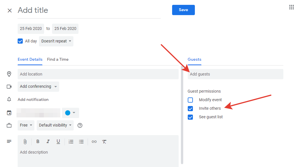 Google Calendar - guest settings