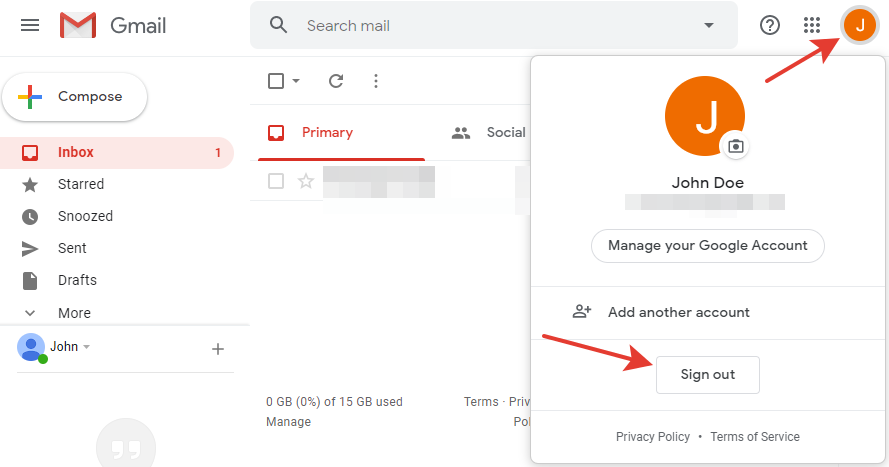 Gmail - Sign out button